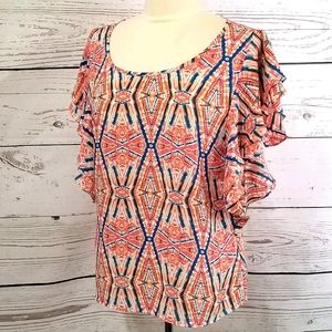Ariat Colorful Pattern Print Flutter Sleeve Blouse